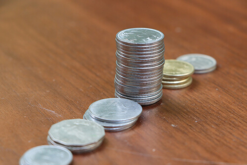 coins on desk